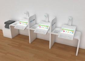 Kiosk PMR mairie 3 ecrans tactiles 22 pouces