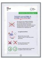 Cadre affiche mural securisé prévention Coronavirus