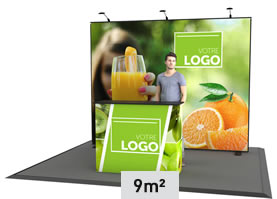 Stand cadre tissu 9m² pour salon événement
