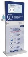 Covid-19 ecran vidéo avec gel hydroalcoolique
